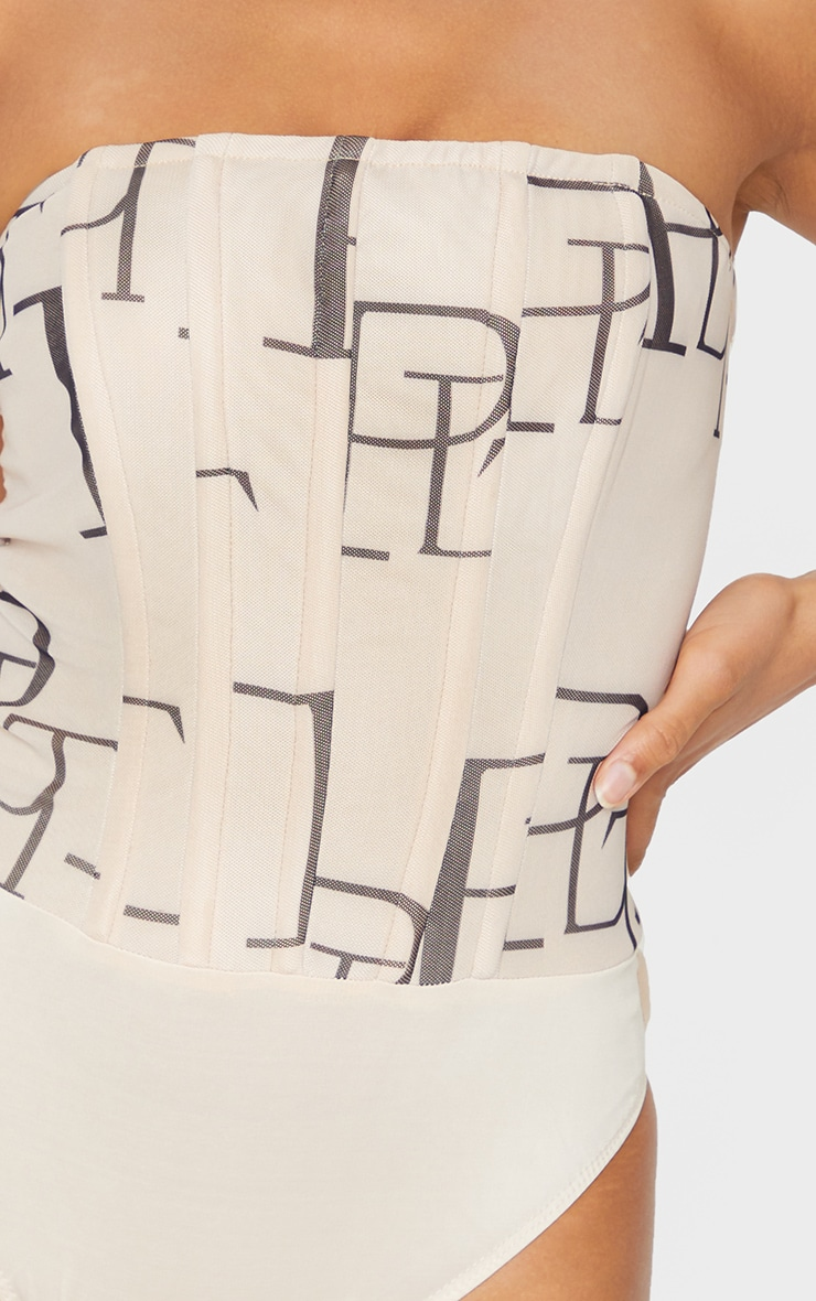 PRETTYLITTLETHING Nude Printed Mesh Bandeau Corset Bodysuit 4