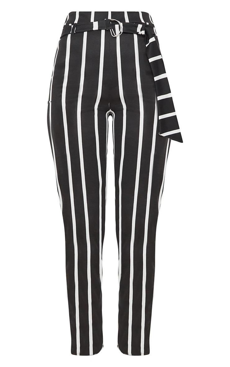 Black Monochrome Stripe Belted Cigarette Pants 3