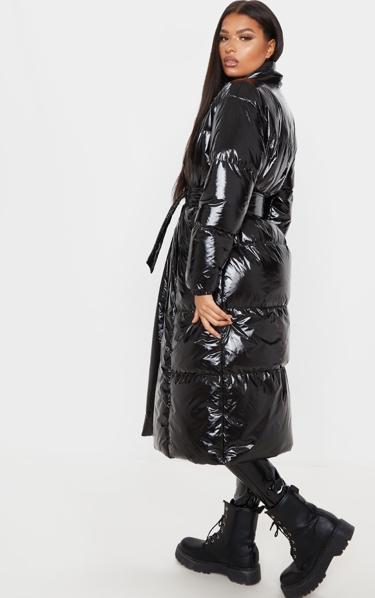 Black Shine Puffer Maxi Coat 2