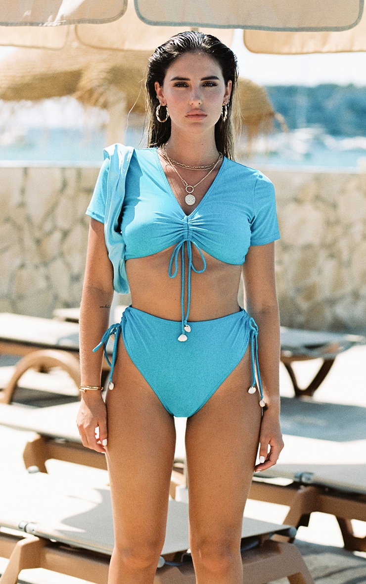 Bright Blue Ruched Side Shell Trim Bikini Bottoms