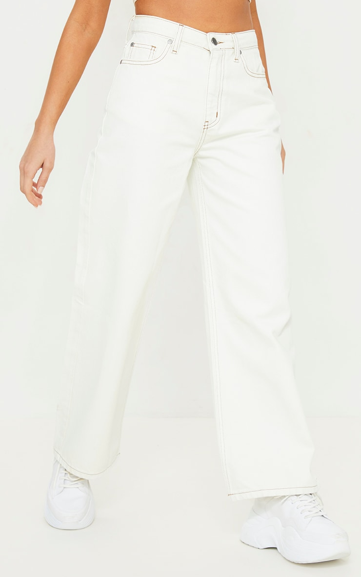 Ecru With Tobacco Contrast Stitch Cropped Baggy Wide Leg Jeans 2