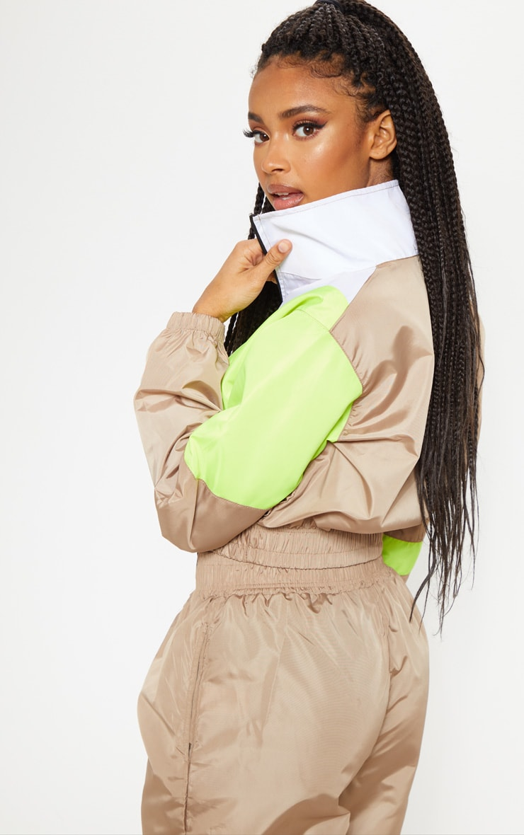 Camel Color Block Tracksuit Jacket 2