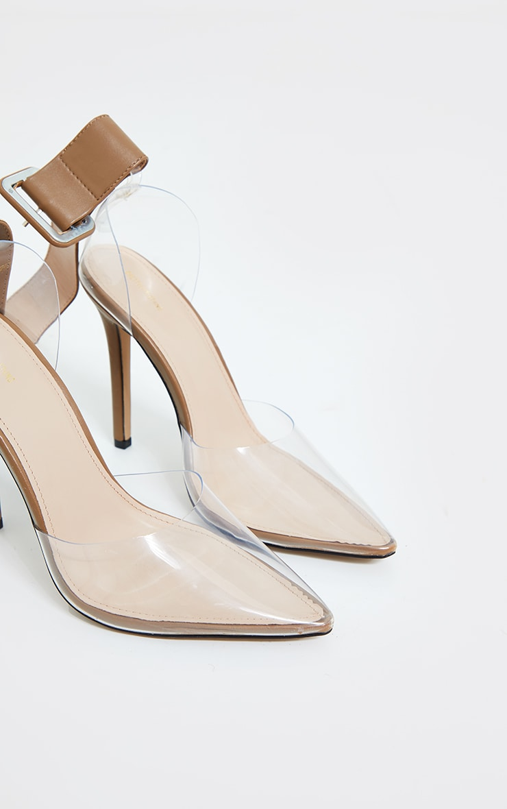 Sand PU Cuff Detail Clear Court Shoes 3