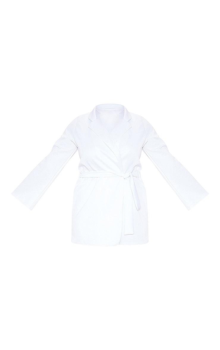 Plus White Scuba Tie Waist Blazer 3
