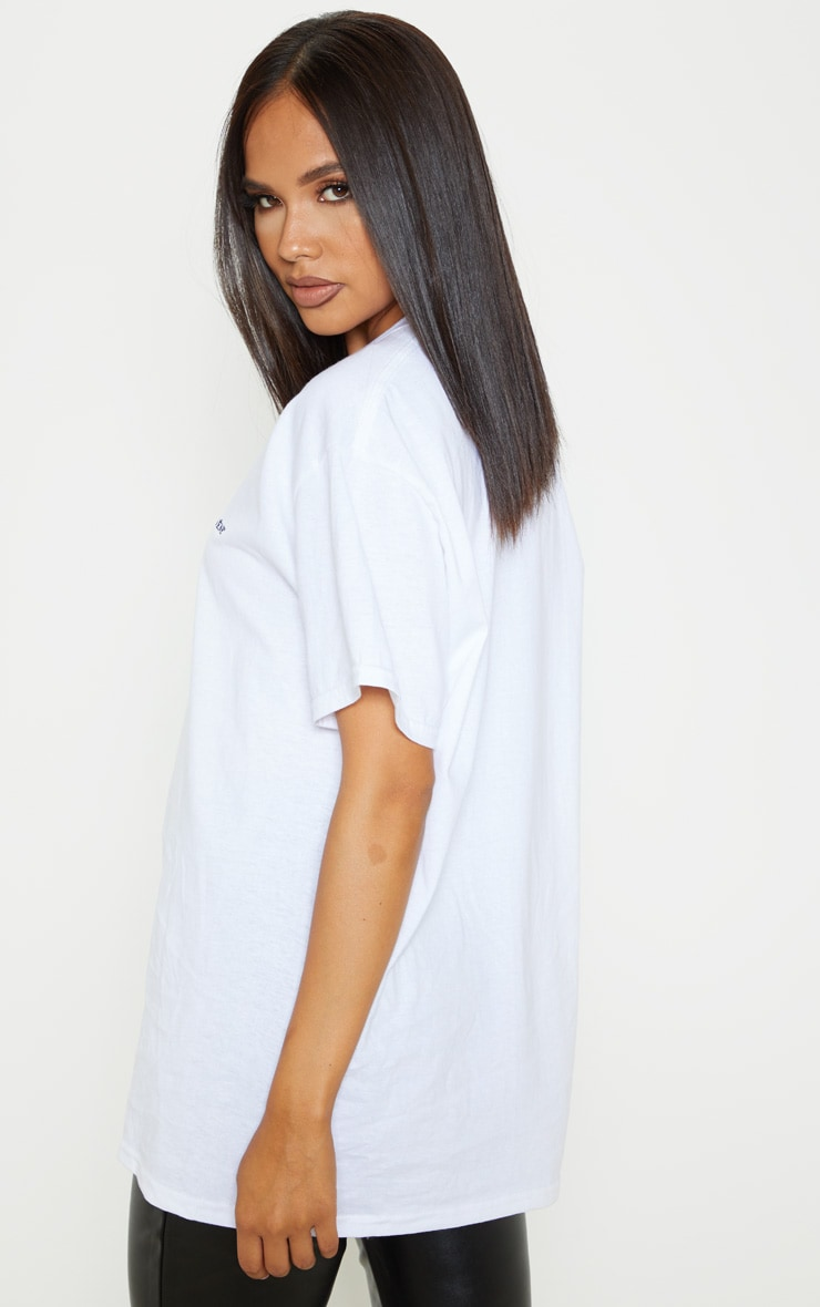 White Be Yourself Embroidered Oversized T Shirt 2