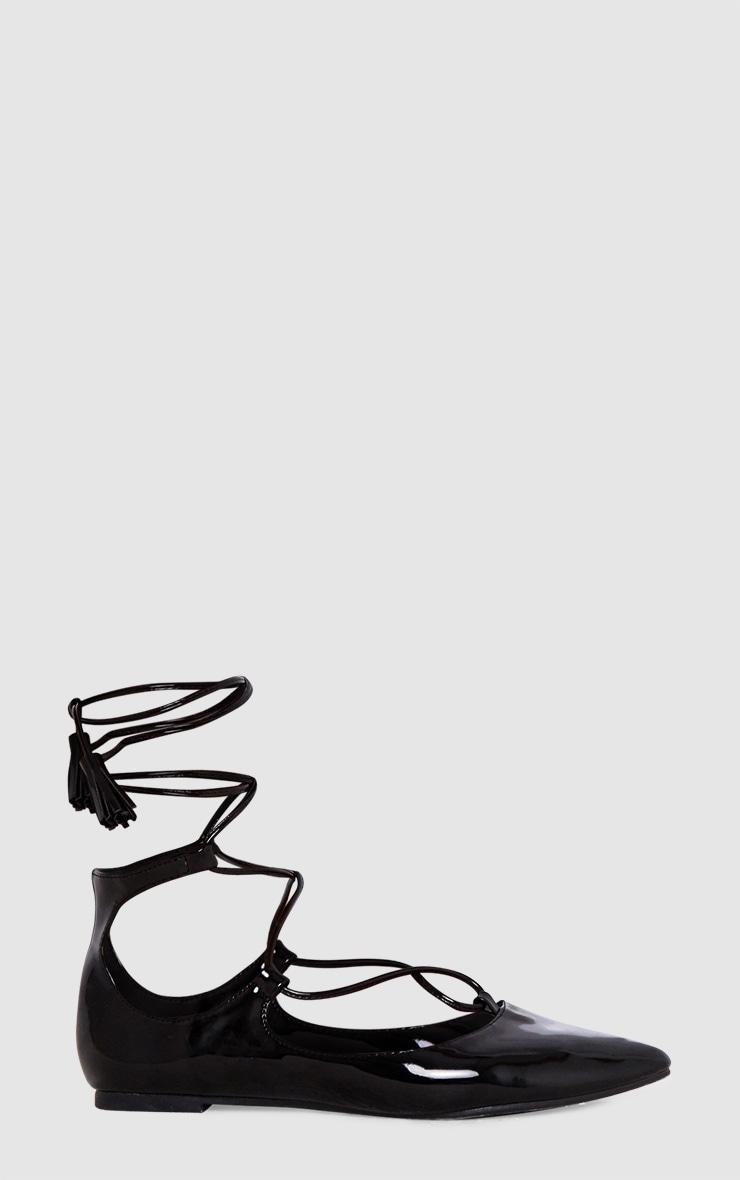 Black Patent Lace Up Ballet Pumps 3