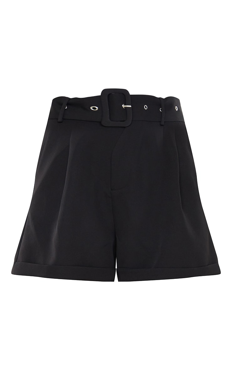 Black Woven Belted Tailored Shorts 6