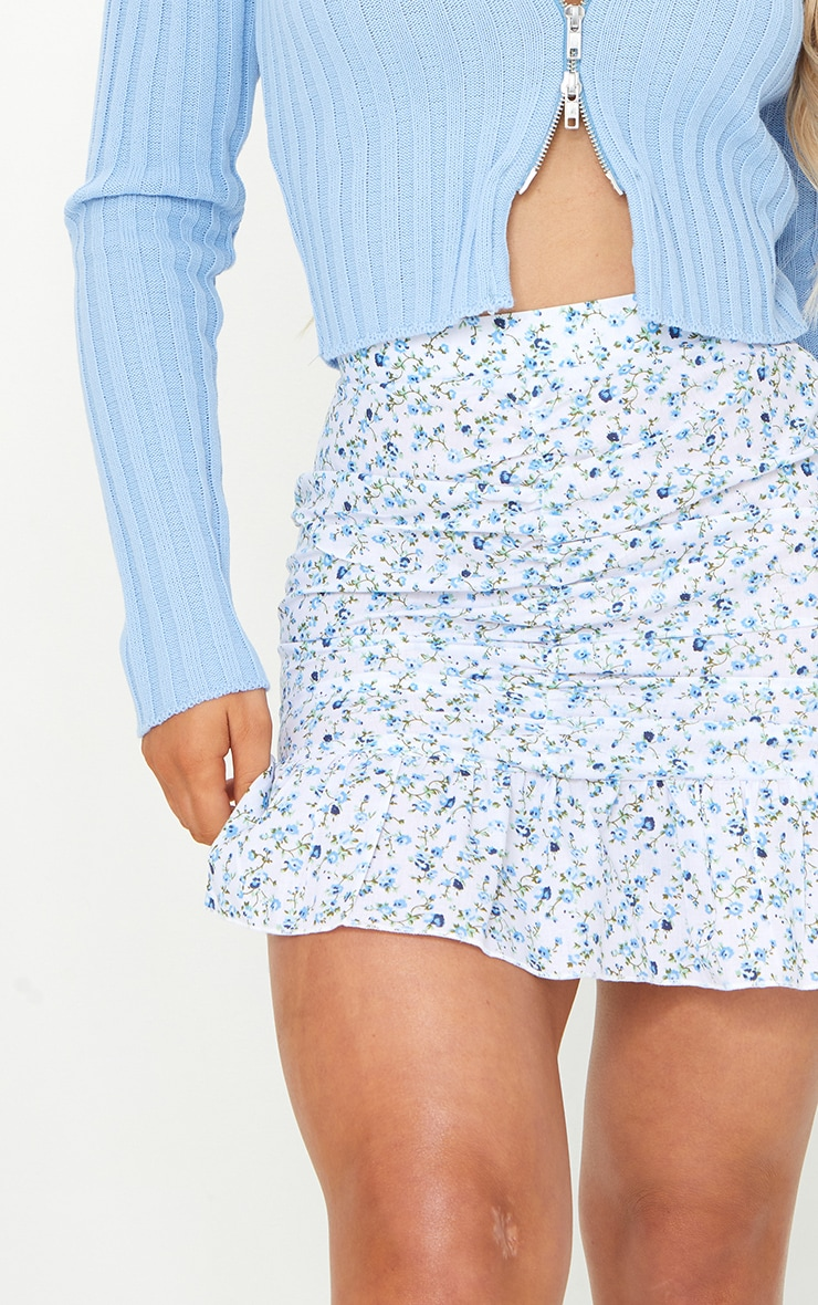White Ditsy Woven Ruched Frill Hem Mini Skirt 5
