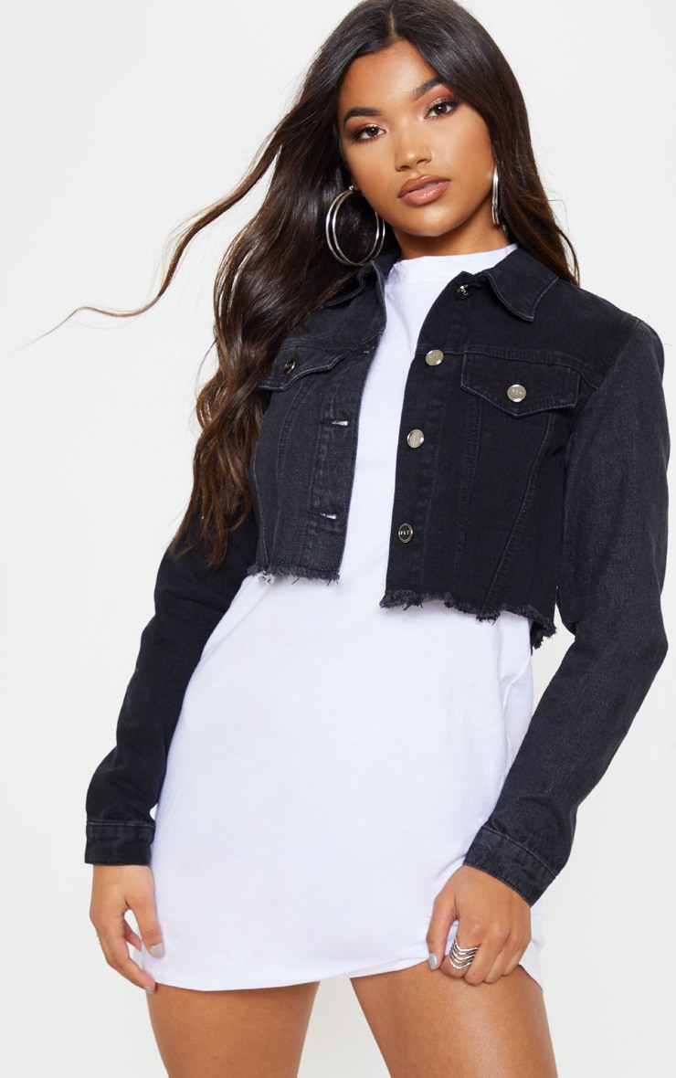 Washed Black Contrast Cropped Denim Jacket 1