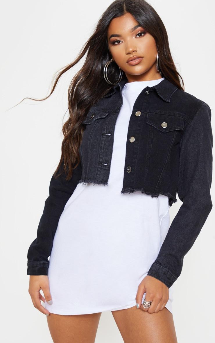 Veste en jean noir dechire femme