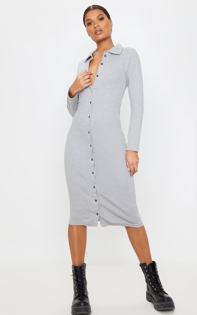 Grey Heavy Rib Button Front Collar Detail Long Sleeve Midi