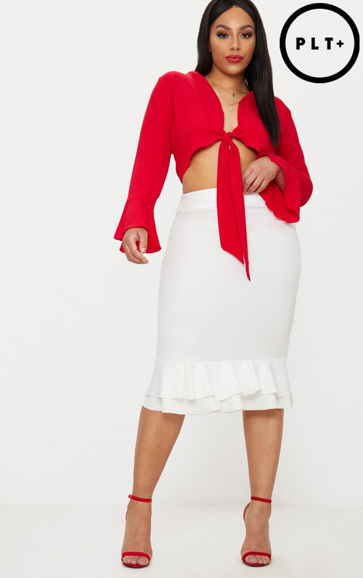 Plus White Frill Hem Midaxi Skirt 1