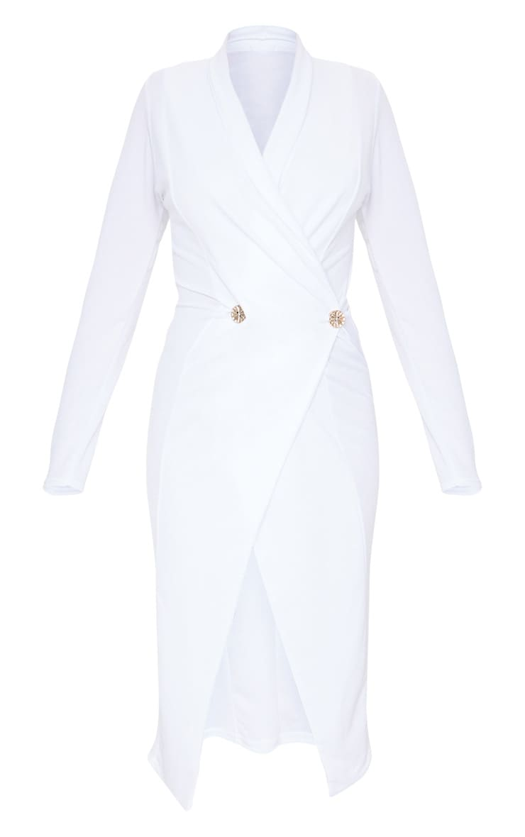 White Button Detail Blazer Midi Dress 5