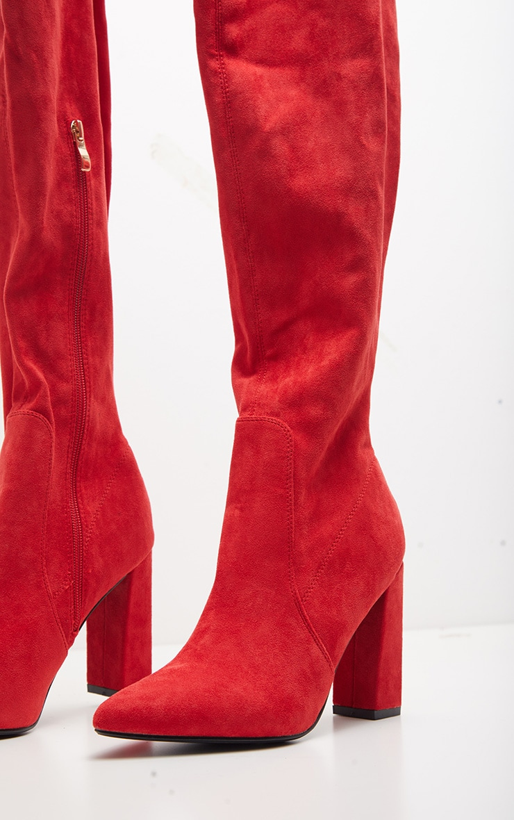 Red Faux Suede Block High Heel Boot 3