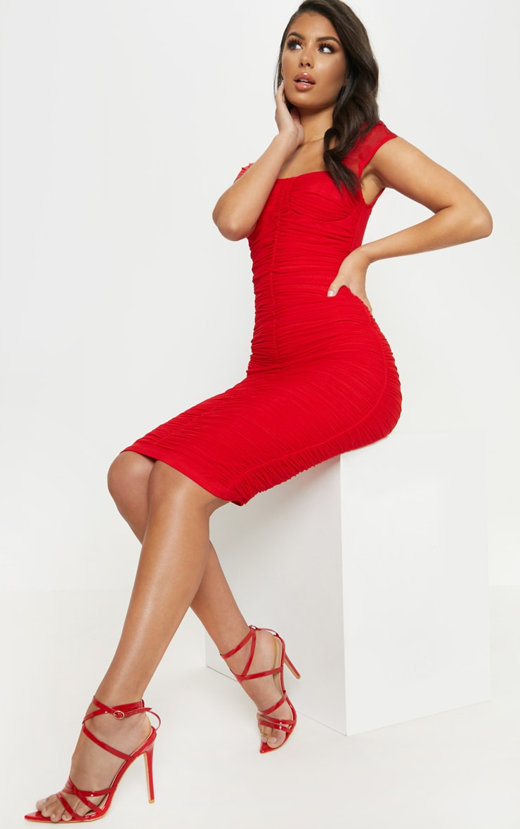 Red Mesh Ruched Midi Dress 4