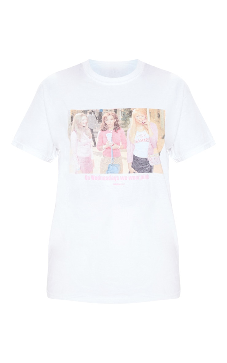 White Mean Girls Wear Pink Slogan T Shirt 3