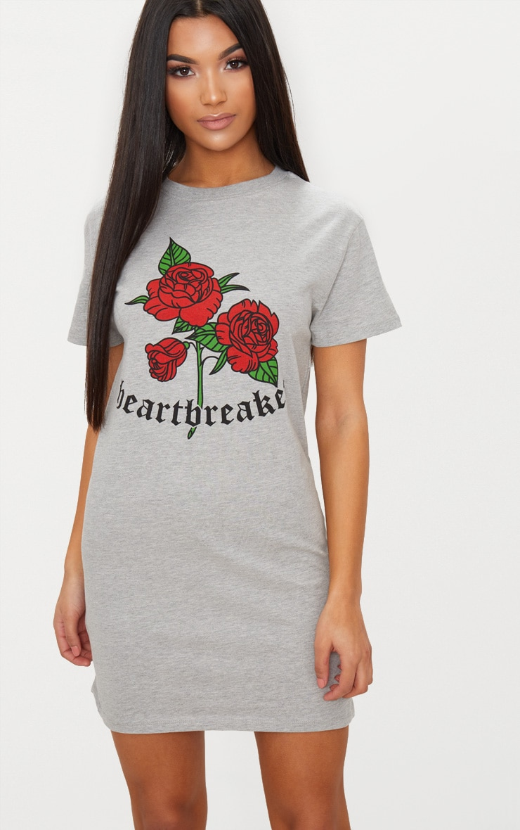 Grey Marl Heart Breaker T Shirt Dress 1