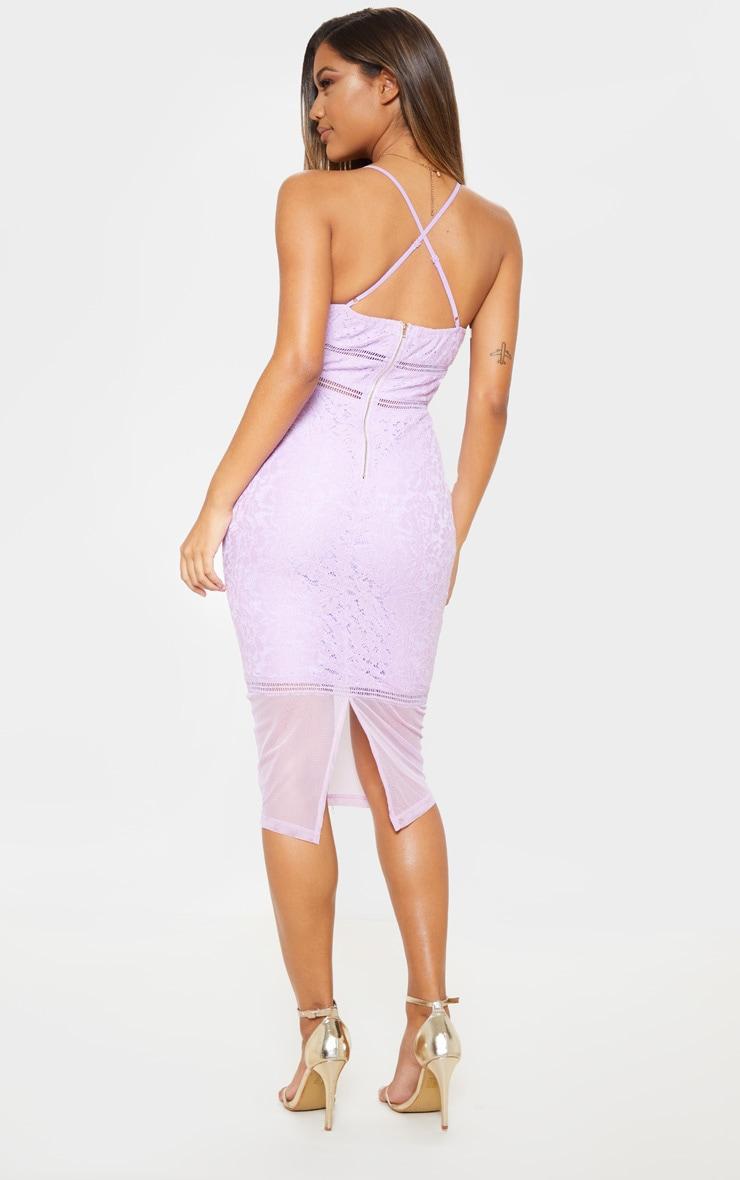 Lilac Lace Cross Back Strappy Midi Dress 2