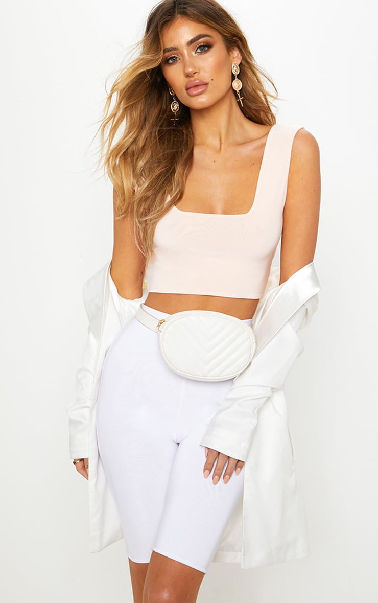 Nude Second Skin Slinky Square Neck Crop Top 1
