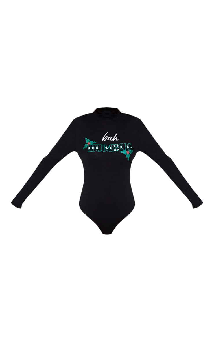 Black Bah Humbug High Neck Bodysuit 3