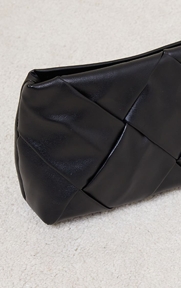 Black Oversized Weave Clutch Bag 4
