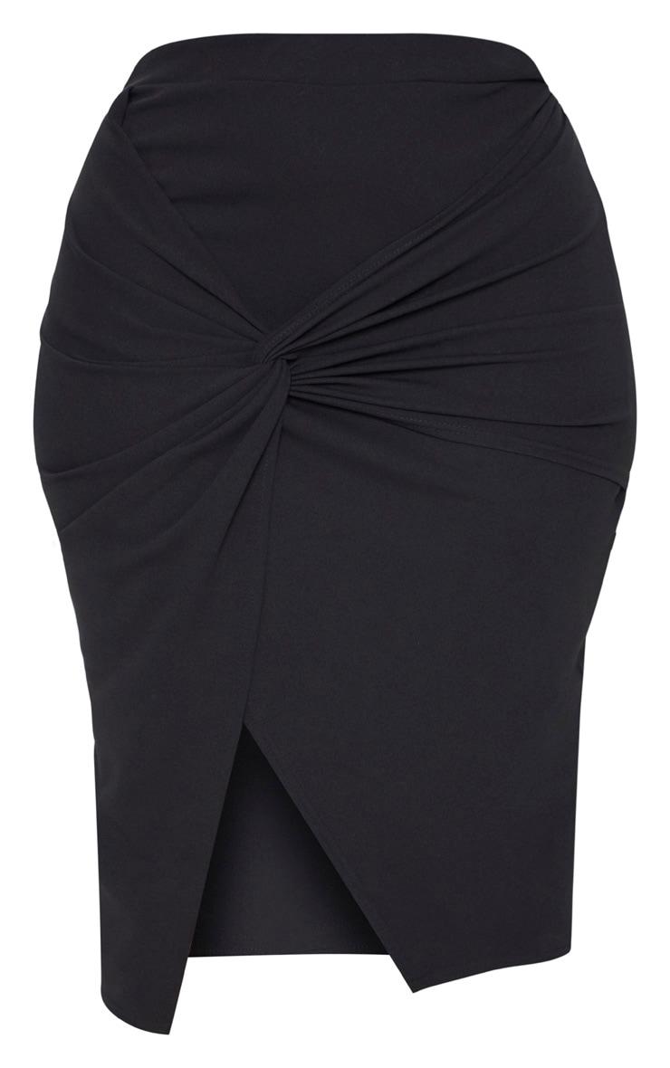 Plus Black Knot Front Midi Skirt 3