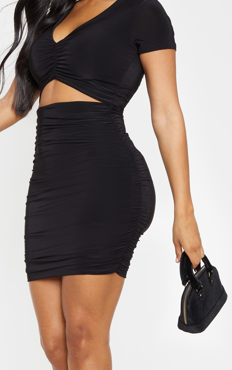 Shape Black Ruched Front Cut Out Bodycon Dress 5