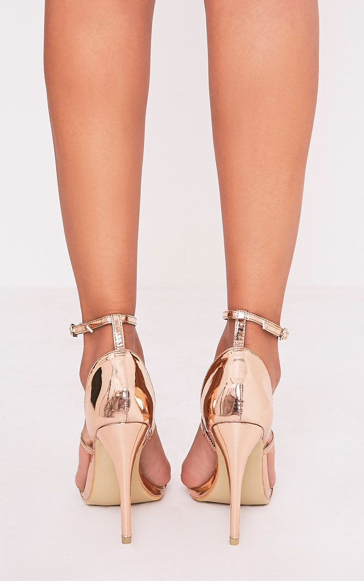 Amelia Rose Gold Strappy Heeled Sandal 4