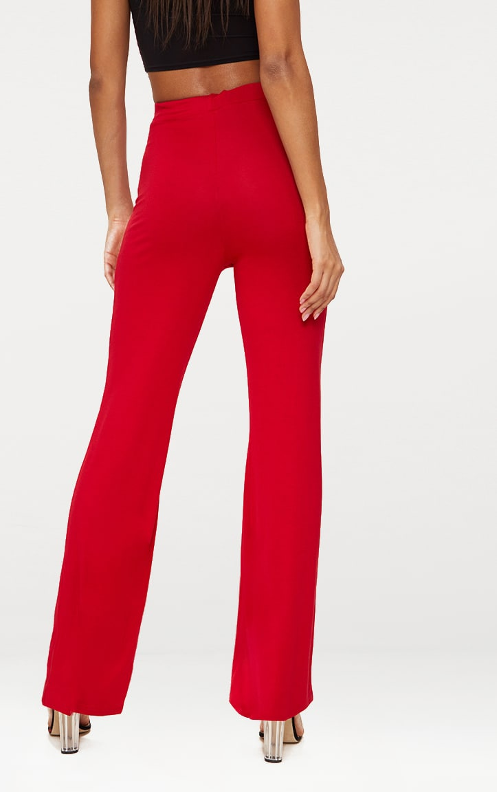 Red Basic Jersey Wide Leg Trousers 4