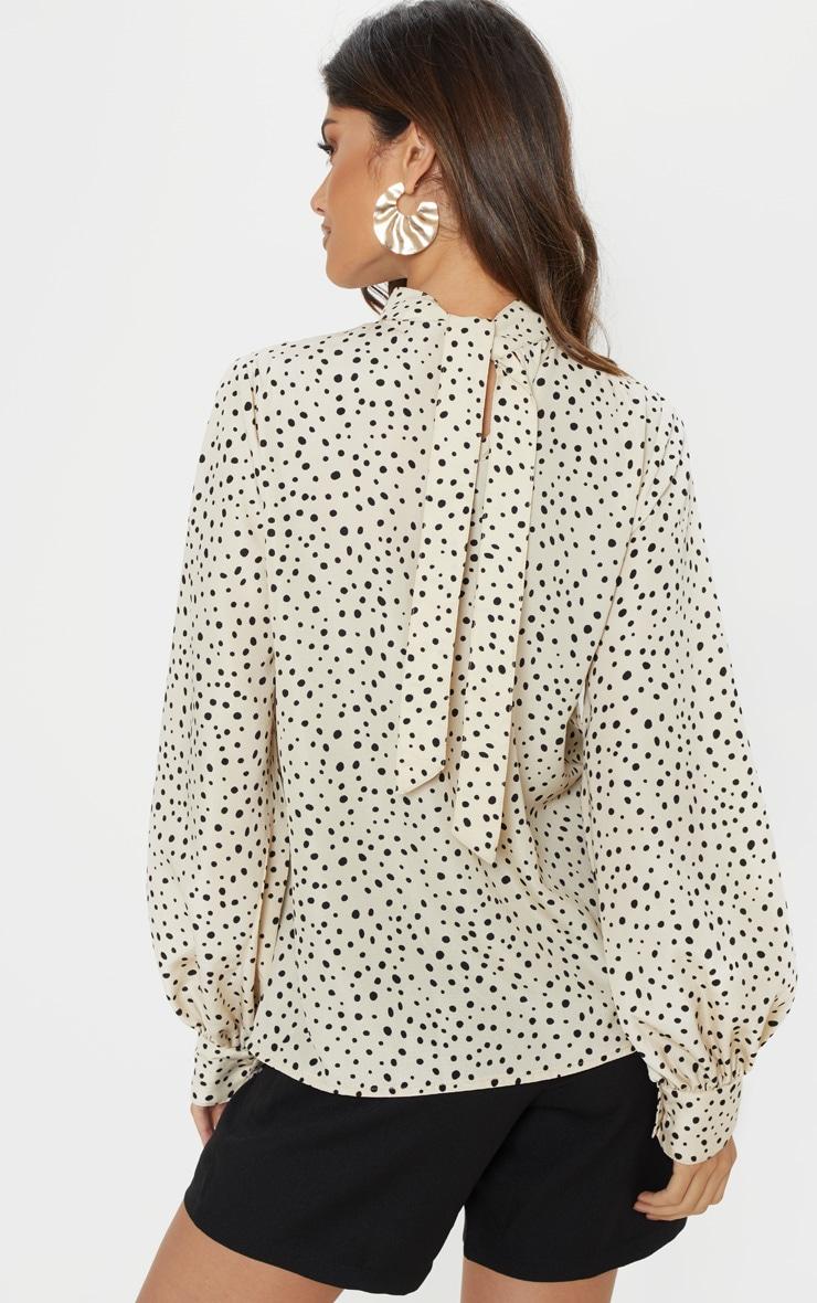 Mono Polka Dot Printed High Neck Long Sleeve Top 2