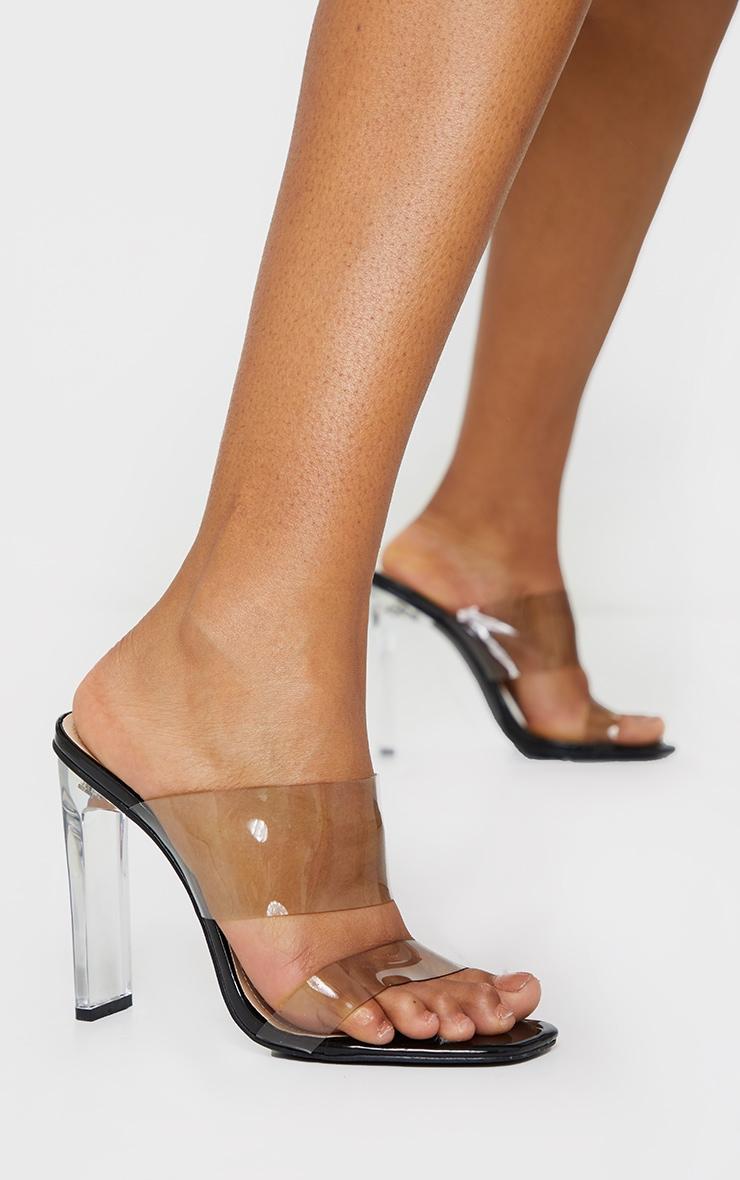 Black Tinted Clear Twin Strap Mule Heels 2