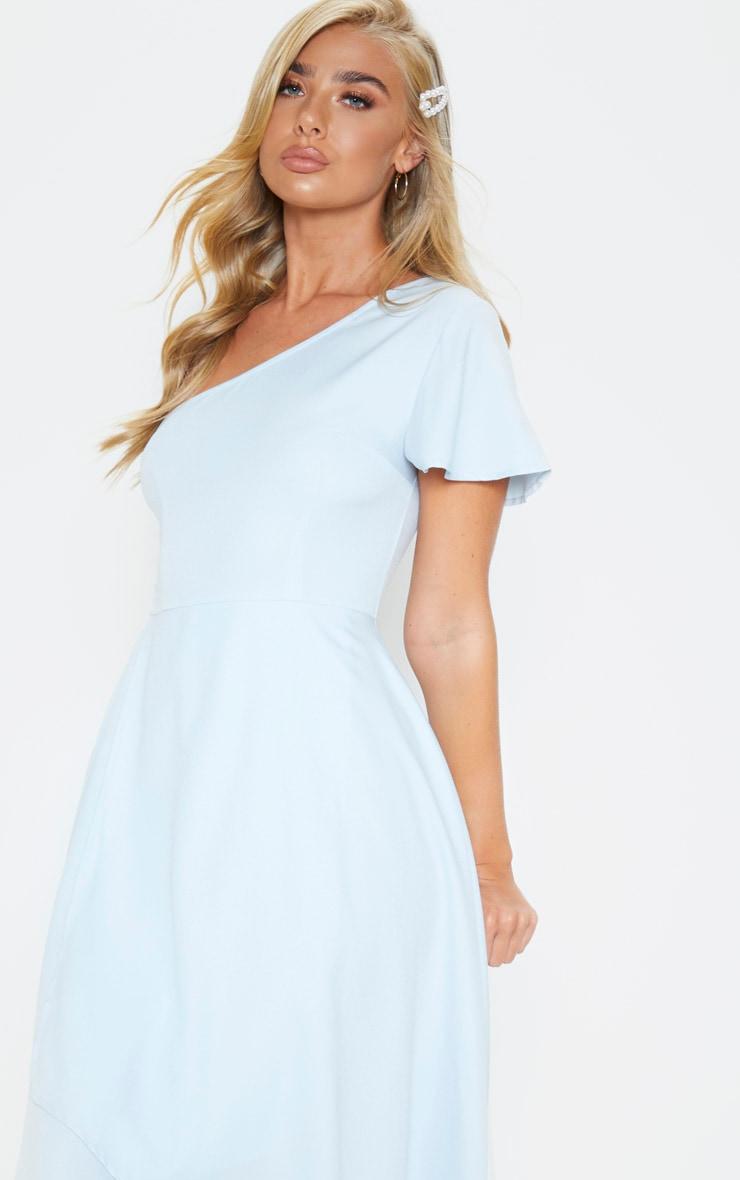 Dusty Blue Ruffle One Shoulder Midi Dress 5