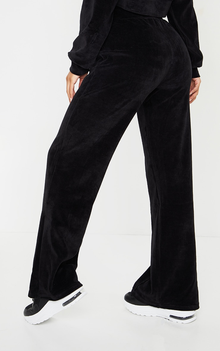 Black Velour Seam Detail Wide Leg Jogger 3