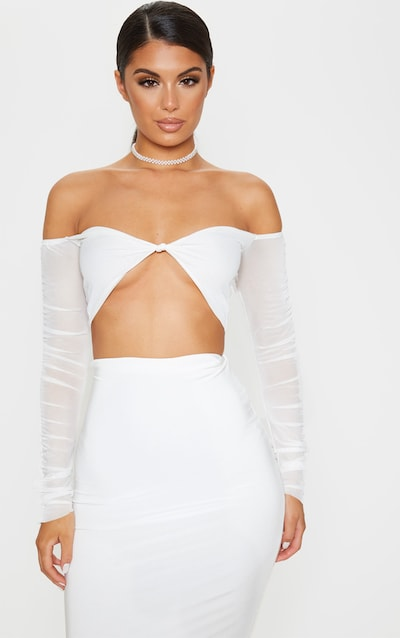 White Mesh Ruched Sleeve Crop Top