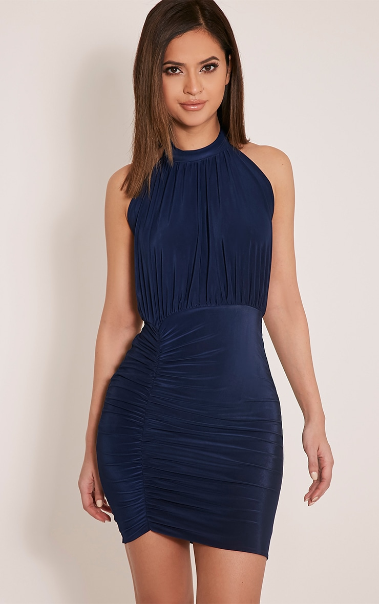 Charlotte Navy Halterneck Ruched Bodycon Dress 1