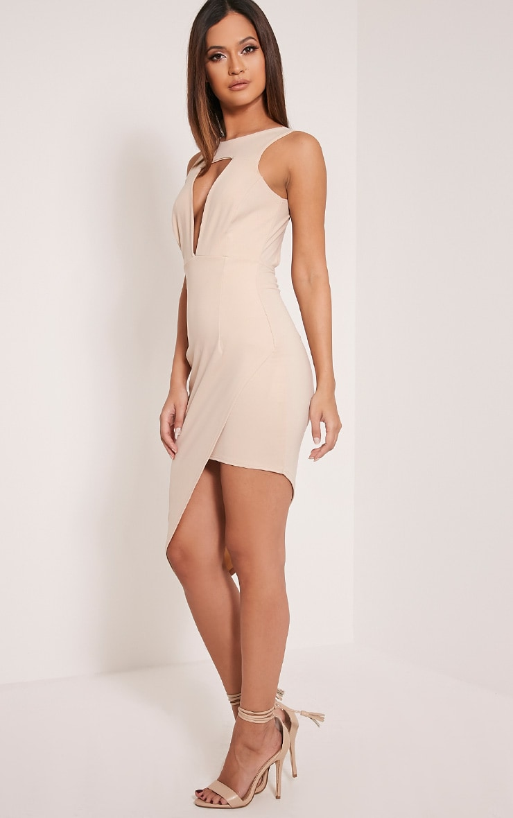 Eron Taupe Cut Out Plunge Asymmetric Mini Dress 4