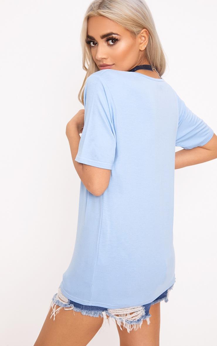 Basic Baby Blue V  Neck T Shirt 2