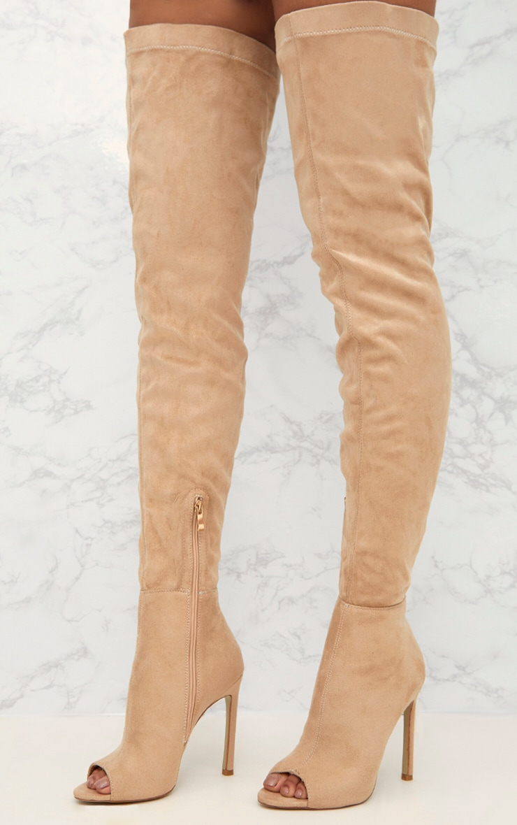 Nude Faux Suede Thigh High Peep Toe Heeled Boots 2