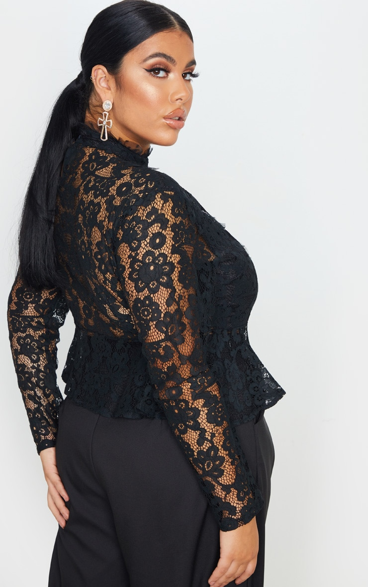 Plus Black Laced High Neck Blouse 2