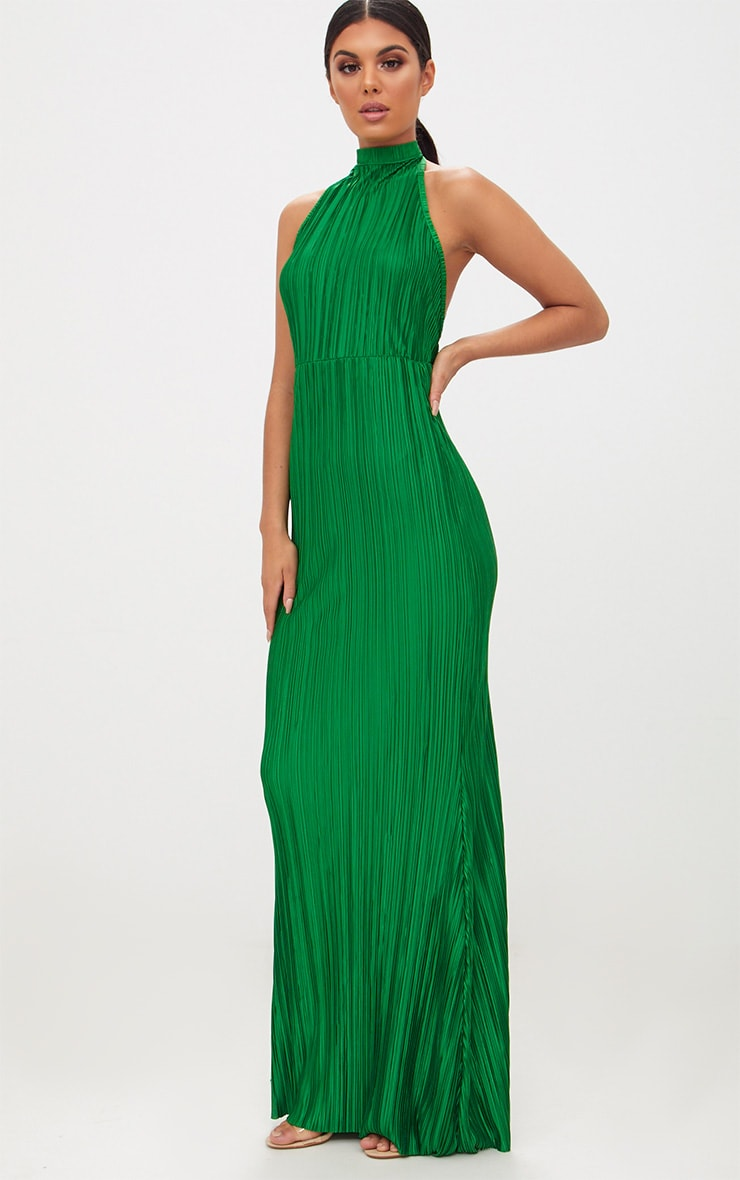 022ee20b70f Green Pleated High Neck Maxi Dress image 1