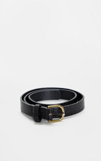 Black Basic Croc Effect Skinny Belt