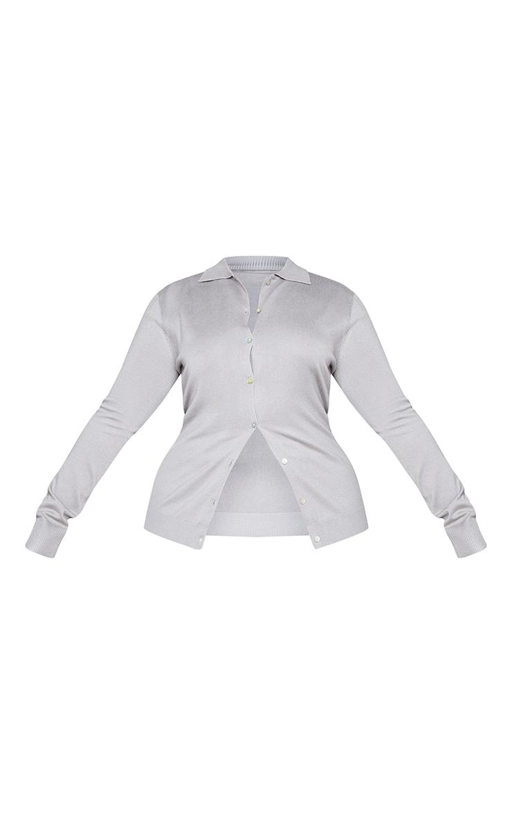 Plus Grey Button Up Collar Knit Cardigan 5
