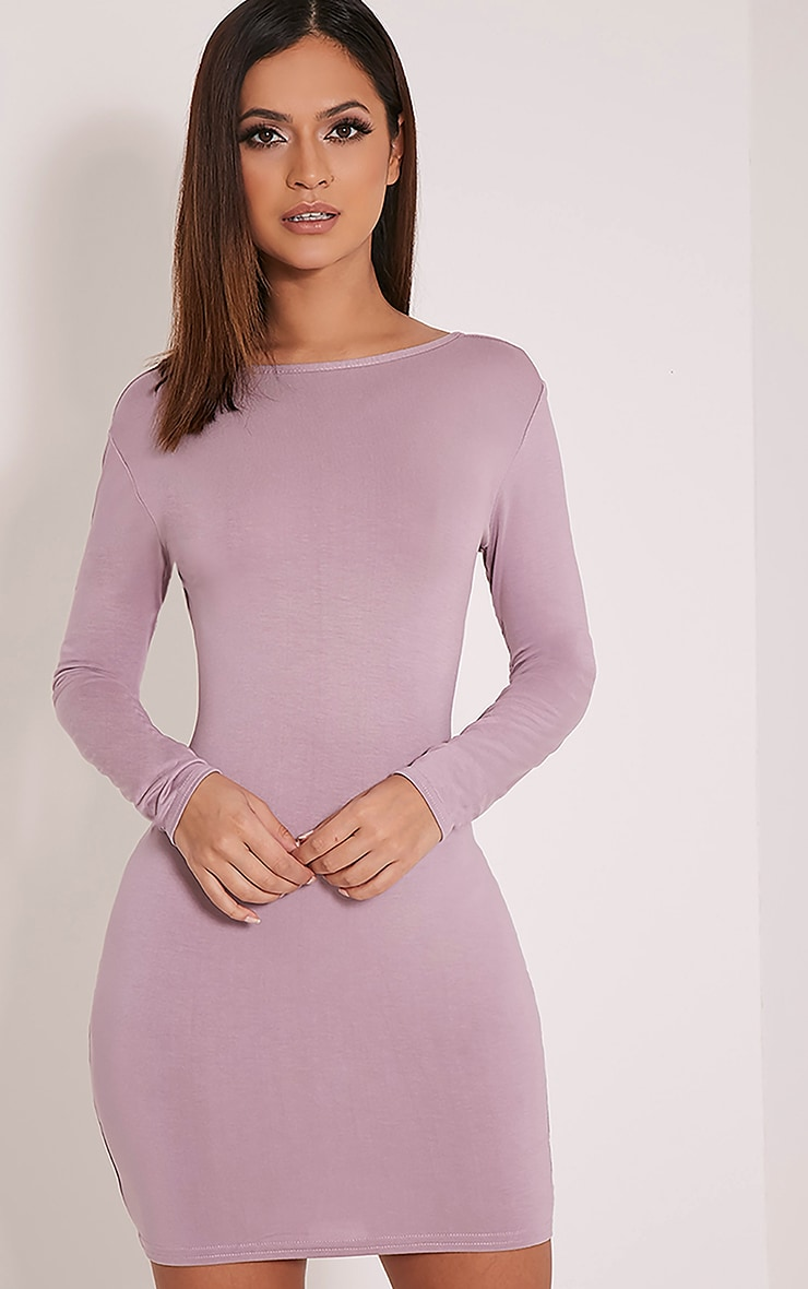 Basic Mauve Scoop Back Bodycon Dress 4