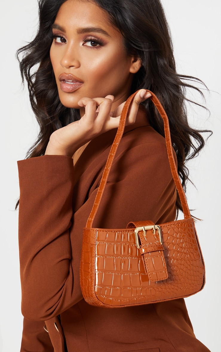 Brown Croc Buckle Front Shoulder Bag