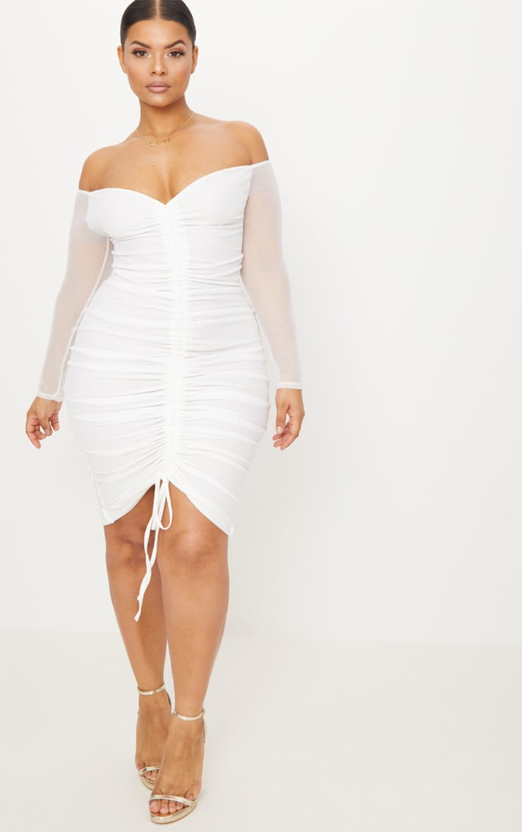 Plus White Mesh Ruched Bardot Midi Dress 4