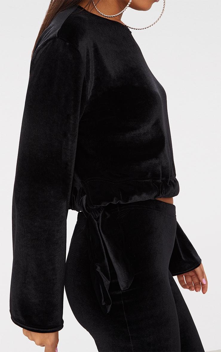 Black Velvet Tie Waist Longsleeve Crop Top  3