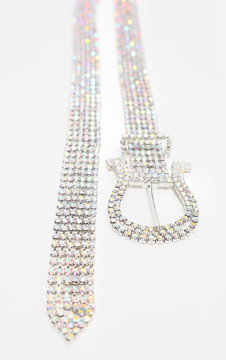 Iridescent Diamante Western Shape Buckle Belt 3