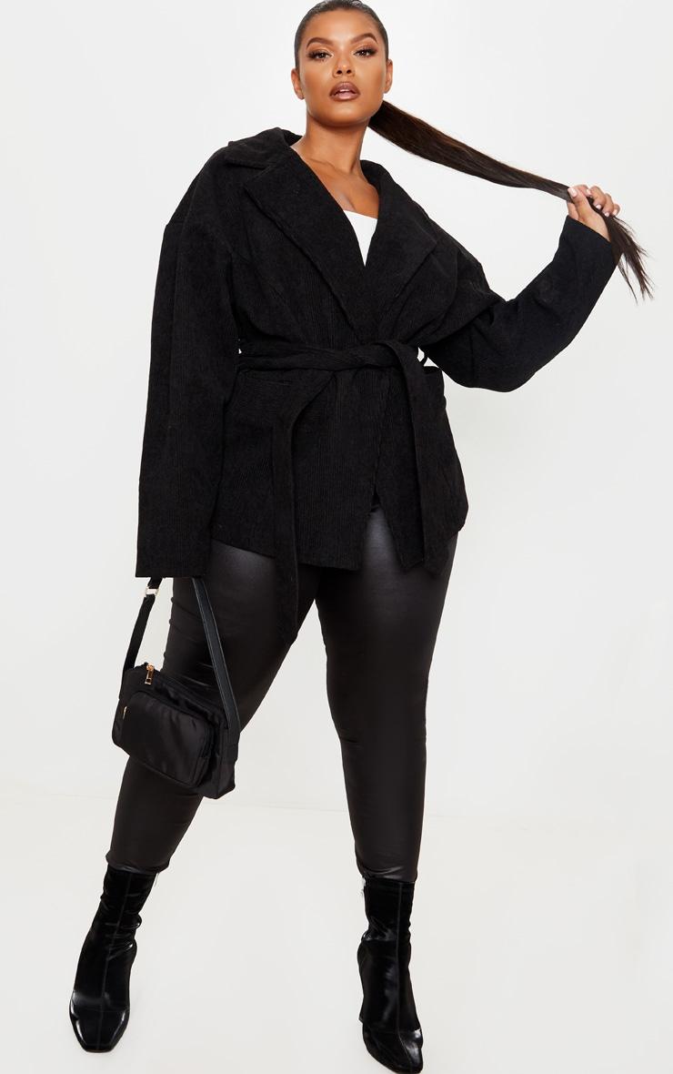 Plus Black Cord Collar Tie Waist Jacket 1