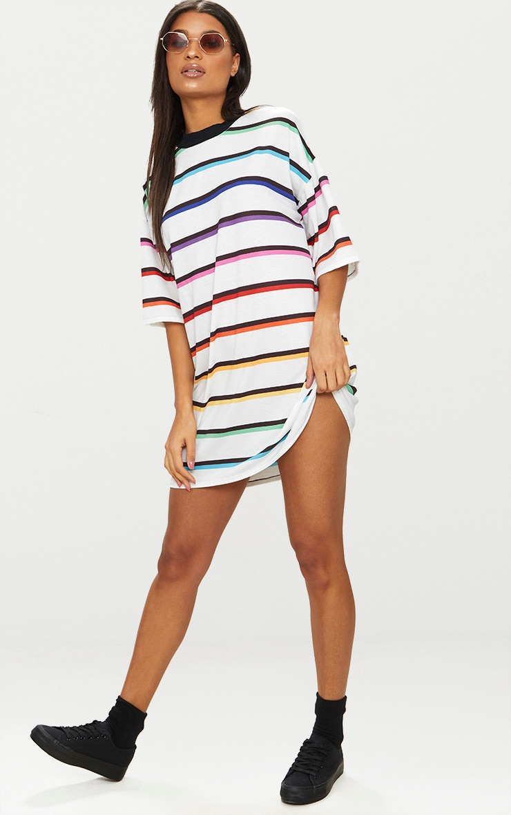 White Rainbow Stripe T Shirt Dress  1