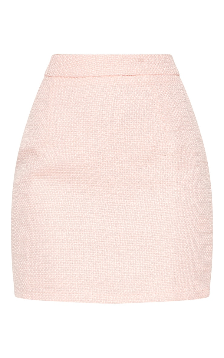 Pastel Pink Boucle High Waisted Skirt 4